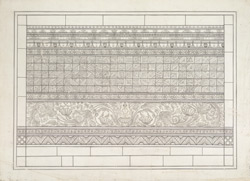 One of four drawings of details of carvings on the Dhamekh Stupa at Sarnath: Rectangular panel on the SSE face, with a small carved Buddha image.